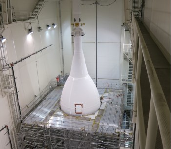 The test-flight version of the Orion capsule made for NASA by Lockheed Martin Space Systems Co.