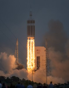 The United Launch Alliance Delta IV Heavy rocket with NASA's Orion spacecraft mounted atop, lifts off from Cape Canaveral Air Force Station's Space Launch Complex 37 at at 7:05 a.m. EST, Friday, Dec. 5, 2014, in Florida. Credits: NASA/Bill Ingalls
