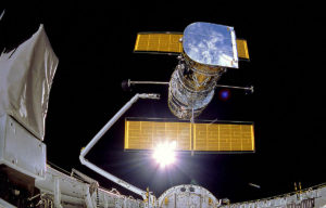 Deployment of the Hubble Telescope on April 25, 1990. Credit: NASA.