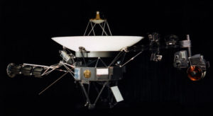 The Voyager spacecraft showcasing where the Golden Record is  mounted