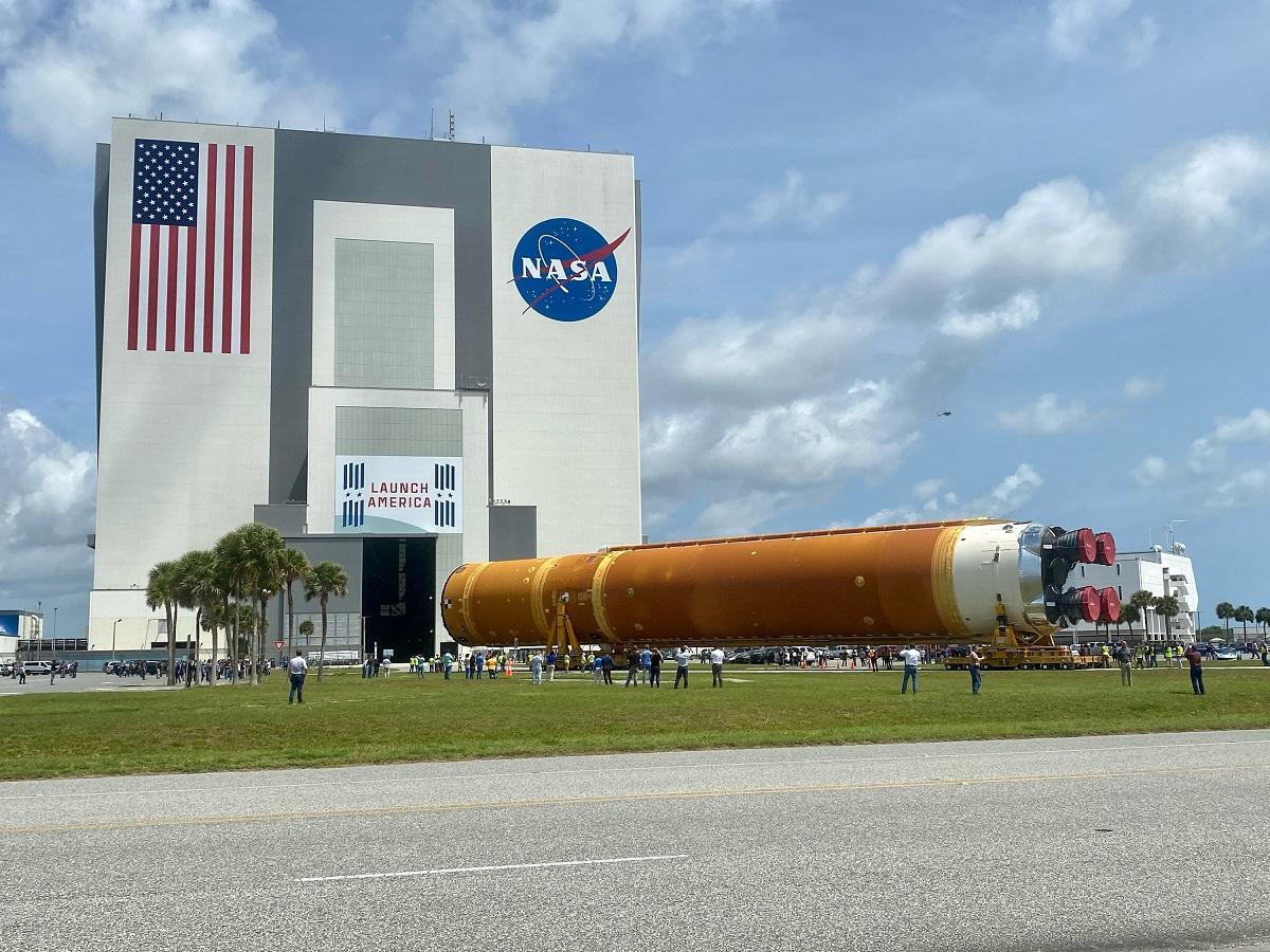 SLS at NASA's Kennedy Space Center. Credit: NASA
